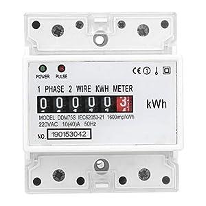 Medidor de energía, medidor consumo electrico DDM75S monofásico 4P Din Rail Medidor eléctrico, medidor de consumo de energía Medidor de Kwh con pantalla digital 5 + 1 (99999.1KWh), 10-40A