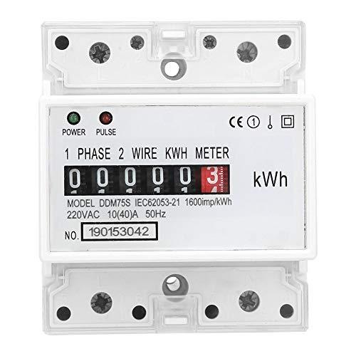 KWh Meter Digital Stromzähler Hutschiene, Einphasiger 4P LED Din Rail Stromverbrauch Wattmeter Energiezähler, 10-40A