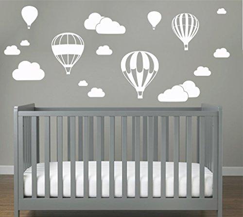 Heißluftballon mit WOLKEN SET 20 teilig Wandtattoo Wandaufkleber Sticker Aufkleber Wand Himmel Baby (Weiss)