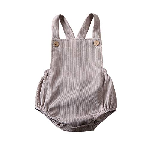 MERSARIPHY Baby Boy Girl Overall Romper Infant Newborn Backless Velvet Bodysuit Jumpsuit with Buttons, Ages for 0-24Mos (18-24 Months, Grey)