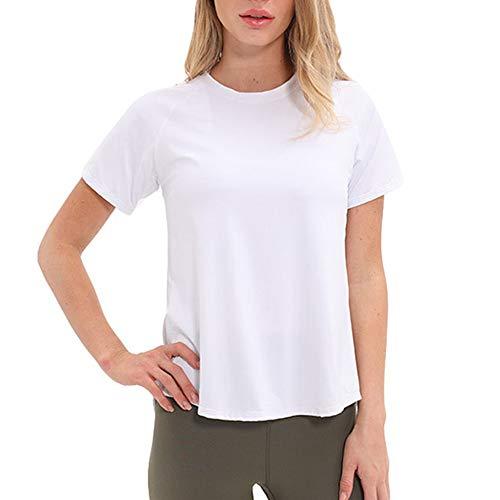 DISCOUNTL Ropa de yoga para mujeres, Ropa de yoga, Ocio al aire libre señoras negro XXL de una pieza de yoga camiseta de manga corta de las mujeres de malla de costura Fitness ropa deportiva
