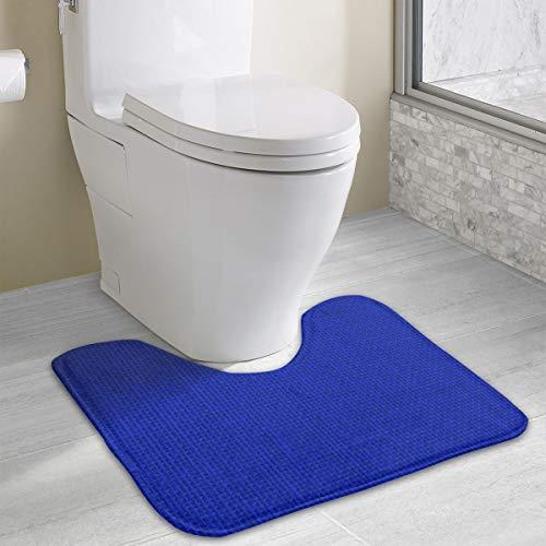 Natuurlijke geweven Royal Blue jute zakdoek Memory Foam wc badmat U-vorm, zacht en comfortabel wc-mat, badkamer mat, wasbaar 19x16 inch