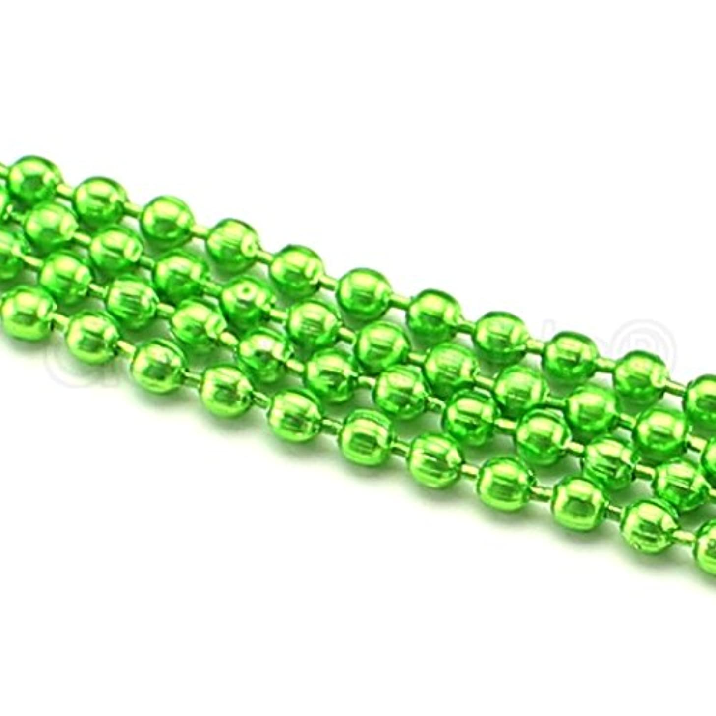 CleverDelights Ball Chain Roll - 30 Feet - Neon Green Color - 2.4mm Metal Ball Bead Chain