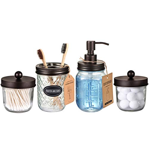 Mason Jar Bathroom Accessories Set(4 Pack) -Bronze-Lotion Soap Dispenser&Qtip Holder Set&Toothbrush Holder-Rustic Farmhouse Decor Apothecary Jar Bathroom Countertop,Vanity Organize (Bronze)