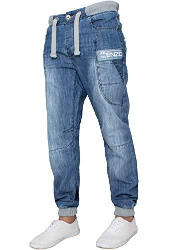 Enzo Herren Designer Cuffed Jeans mit elastischer Taille Jogging Denim Hosen (28W / 32L, Blau)