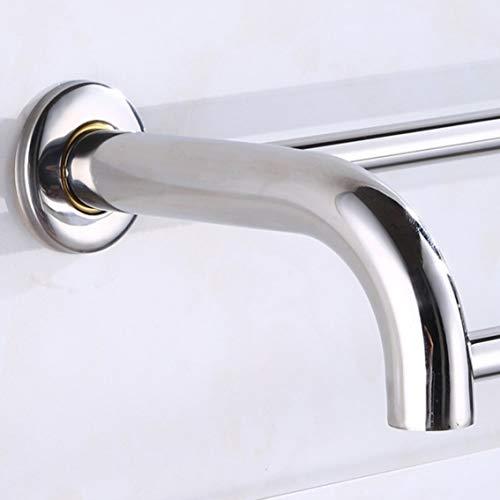 Panamamami, scaffale in acciaio inox antiruggine per bagno, porta asciugamani da parete, salvaspazio, doppia asta per uso domestico, 80 cm