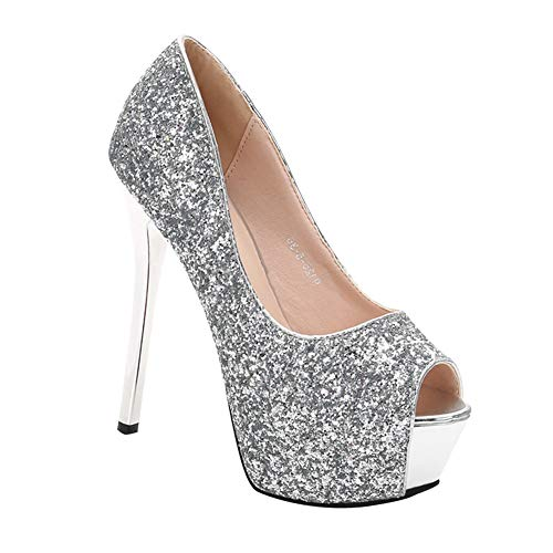 uirend Damen Stiletto Peeptoe Plateau Glitzer Pailletten Pumps Schuhe - Party Elegante Braut Hochzeit High Heels