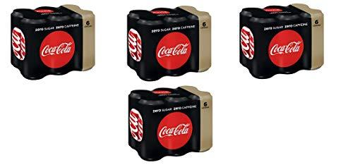 Coca Cola Zero Caffeine Free 4 Pack á 6x0,25l Dose eingeschweißt IMPORT (24 Dosen Cola Zero koffeinfrei)