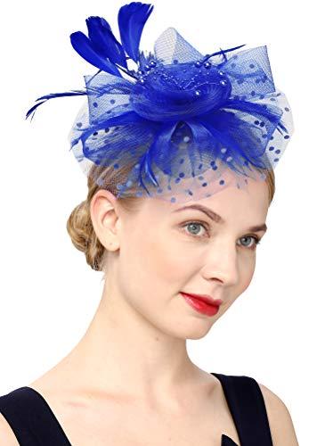 Fascinators Hat for Women Tea Party Headband Kentucky Derby Wedding Flower Cocktail Mesh Feathers Hair Clip(1-royal blue)