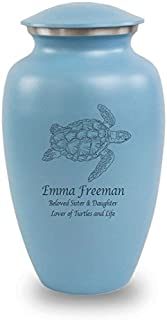 OneWorld Memorials Sea Turtle Aluminum Cremation Urn - Large - Holds Up to 200 Cubic Inches of Ashes - Blue Turtles with Engraving Urns for Human Ashes - Custom Engraving Included