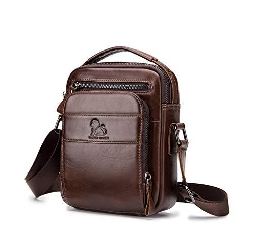 Herren Umhängetasche, Popoti Handtasche Leder Klein Tasche Schultertasche Aktentasche Tote Multifunktional Rucksack Messenger Crossbody Bag (Coffee)