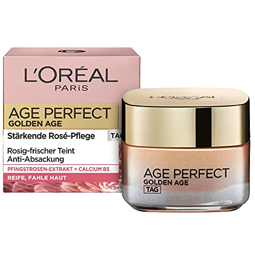 L'Oréal Paris Tagespflege, Age Perfect Golden Age, Anti-Aging Gesichtspflege, Festigung und Glanz, Für reife und fahle Haut, Mit Pfingstrosen-Extrakt, 50 ml
