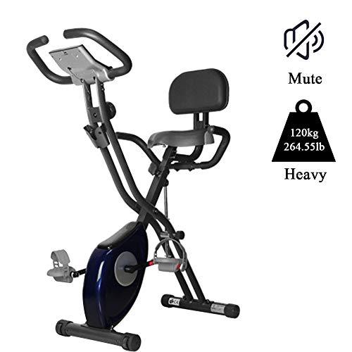 Sports Ciclismo, Bicicleta Estática De Spinning Plegable, Ajustable Resistencia, Pantalla LCD, Sillín Ajustable, Máx.120kg,Azul