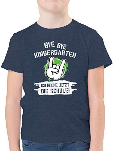 Einschulung und Schulanfang Geschenk - Bye Bye Kindergarten ich Rocke jetzt die Schule Grunge Grün - 128 (7/8 Jahre) - Dunkelblau Meliert - Kinder Tshirt sprüche Schule - F130K - Kinder Tshirts und