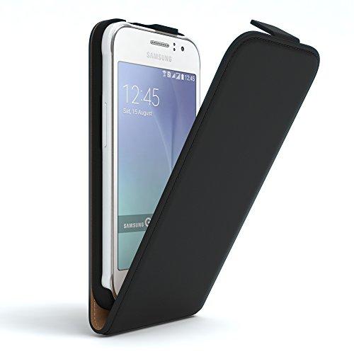 EAZY CASE Hülle kompatibel mit Samsung Galaxy J1 Ace Hülle Flip Cover zum Aufklappen, Handyhülle aufklappbar, Schutzhülle, Flipcover, Flipcase, Flipstyle Case vertikal klappbar, Kunstleder, Schwarz