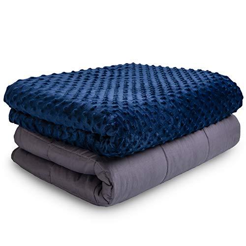 Weighted Blanket Gewichtsdecke Therapiedecke I besser Schlafen, schwere Decke als Einschlafhilfe und gegen innere Unruhe Erwachsene Kinder I gewichtete Decke Bettdecke 150 x 200 cm 10.8 kg Blau