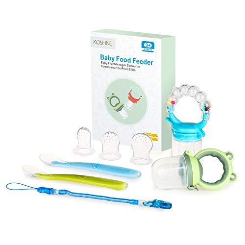 Fruchtsauger Baby Obst Fütterung Babynahrung Gemüse Rassel Schnuller für Kleinkinder (Blau, 9 Stück)