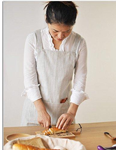 BBYBBS Latzschürze aus Leinen im japanischen Stil, mittelschwere japanische Schürze, Kreuzschürze, kein Binden, Schürze, doppelte Vorderseite, große Taschen, Halfter, Kreuzverband-Schürzen (hellgrau)