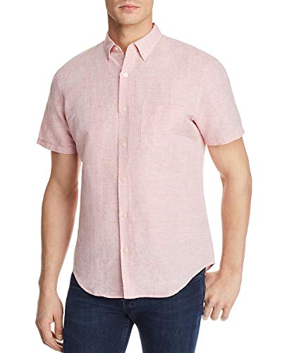Bloomingdale's New $88 Mens RED Swatch S/S Linen Blend Button Down Shirt Size L