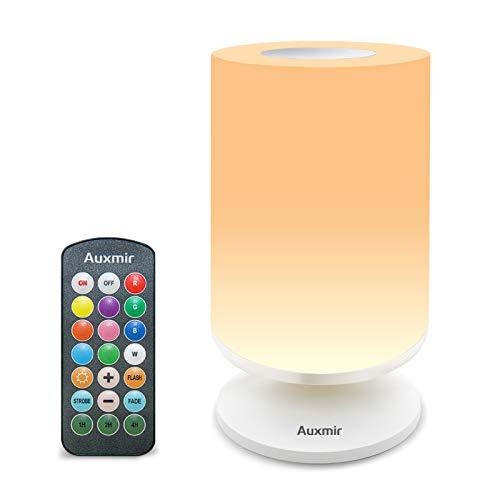 Auxmir Lampada da Comodino Luce Notturna Colorata Lampada LED con 11 Colori Luminosità Regolabile Abat Jour da Comodino 3 Modi di Illuminazione Batteria al Litio Ricaricabile Portabile con Telecomando