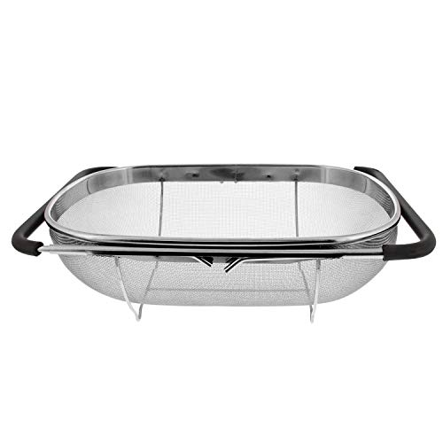 Liseng Colador ovalado de acero inoxidable de alta calidad en el fregadero, con cesta de filtro de 6 litros y mango de goma extensible.