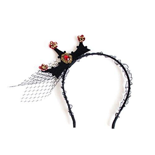 Corona de reina de Halloween, diademas vintage barrocas para niña, tiara de encaje a la moda, diademas de malla para...