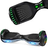 UNI-SUN 6.5' Hoverboard for Kids, Two Wheel Self Balancing Hoverboard with Bluetooth and LED Lights for Adults, Bluetooth Hover Board, Black Gray