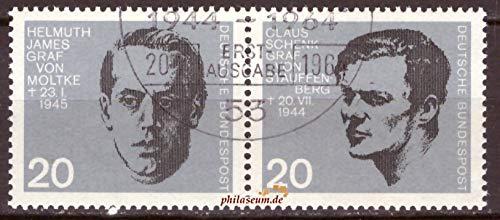 philaseum Briefmarken BRD 1964, Mi.Nr. 437-438 waagerechtes Paar, 20. Jahrestag des Attentats auf Adolf Hitler, Gestempelt