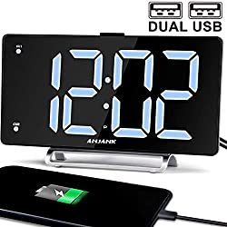 9 Digital Alarm Clock Large LED Display Dual Alarm with USB Charger Port for Bedrooms Bedside Desk Clocks Big Number Simple Seniors Clock