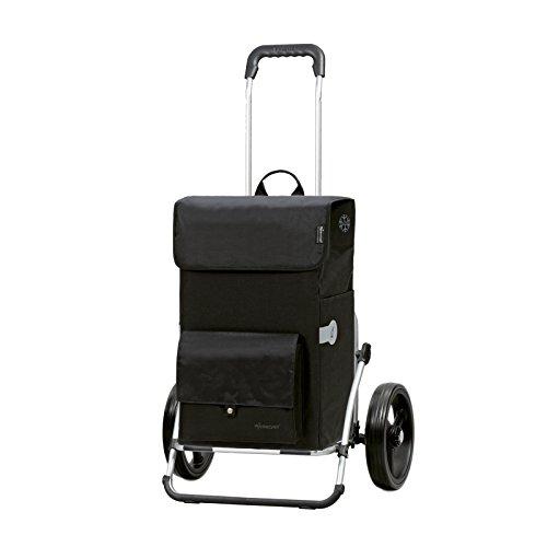 Andersen Einkaufstrolley Royal XXL mit 3-Speichenrad 25 cm und 45 Liter Einkaufstasche Asta schwarz mit Kühlfach, Gestell aus Aluminium klappbar