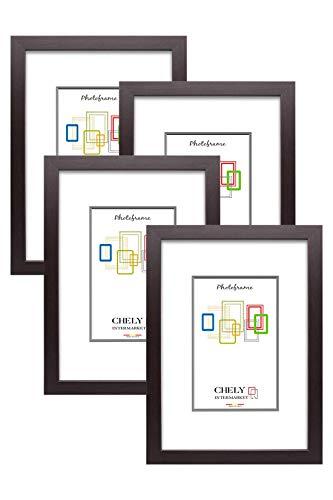 Chely Intermarket, Marco de Fotos A4 (Wengue) MOD-254 (Pack 4 unds) / Hecho de Madera, Ancho de Bastidor 1,20 cm con Acabado Elegante | Marco para títulos y certificados (254-A4*4-0,60)