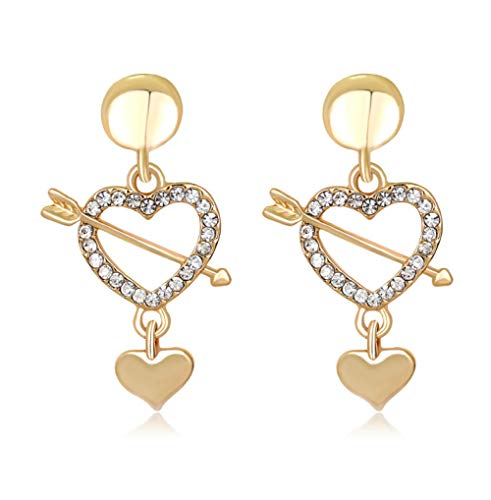 Nobranded Pendientes de Novia con pedrería Pendiente de corazón Resultados de joyería Nupcial Accesorios de Boda para Damas de Honor - Color Dorado