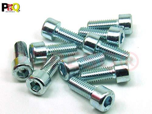 POPESQ® 10 Piezas x Tornillos M8 20mm Largo INBUS Acero Zinc #A2591