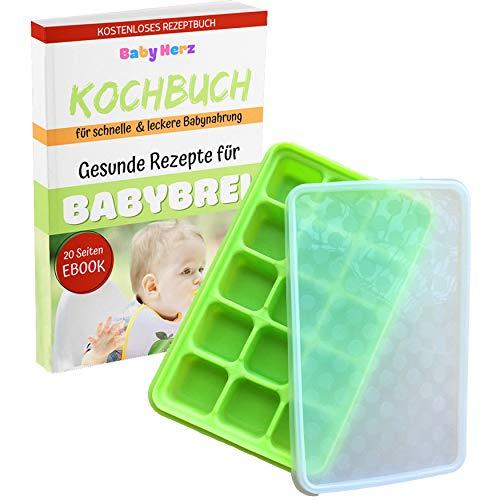 Baby Gefrierform mit Silikondeckel zur Aufbewahrung von Babynahrung - Versch. Farben zur Auswahl - ohne Weichmacher und zu 100% BPA frei (Grün groß)