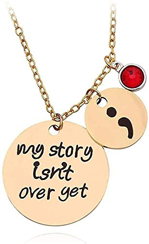 ZHIFUBA Co.,Ltd Necklace Carved Necklace My Story is Not Over Yet Semicolon Necklace 12 Types Crystal Pearl Charm Pendant Gifts Gift for Women Girl Family R Wife Gift for Women Men Gift