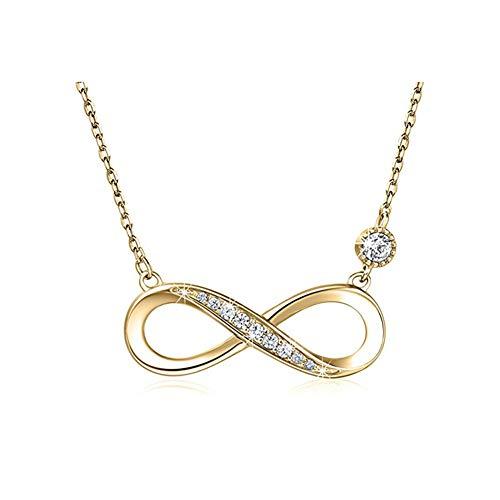 Cestbon 925 Sterling Silber Halskette - Infinity Herz Anhänger Weißes Gold Überzogene Diamant Frauen Einstellbare Halskette,Gold