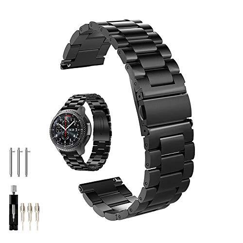 Cavalrywolf Galaxy Watch 46 mm/Gear S3 Frontier/Bracelet de Montre Classique, Sangle à Fixation Rapide 22 mm en Acier Inoxydable Massif pour Montre de Galaxie Samsung Gear S3 (métal Noir)