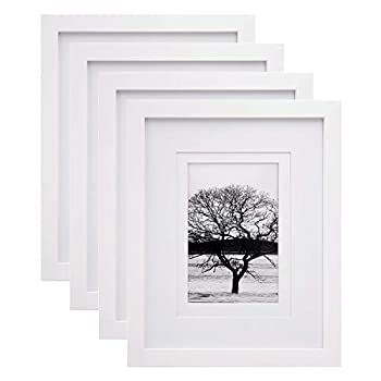 Egofine 8x10 Picture Frames 4 PCS Made of Solid Wood Display 4x6 and 5x7 with Mat for Table Top Display and Wall Mounting Photo Frame White