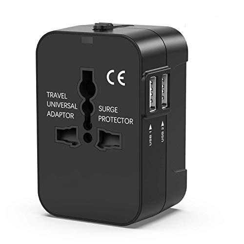 変換プラグ 海外安全旅行充電器 電源変換プラグ コンパクトな コンセント 電源 旅行アダプター 壁の充電器 2個USBポート150ケ国以上対応 海外出張 (black)