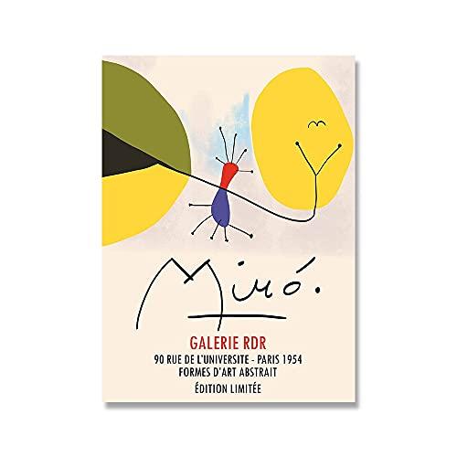 Miró retro mostra astratta decorazione murale, poster nordici e stampe dipinti murali, dipinti su tela senza cornice A1 40x60cm