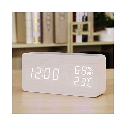 Ygddwecljnz Wecker for Heavy Sleeper USB-Ladegerät Keine Strahlung Sprachsteuerung Elektrisch Dimmbar Nachtlicht Stumm Schlafzimmer Hintergrundbeleuchtung Schnarchen zu Hause Kinder