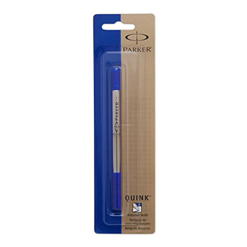 PARKER QUINK Rollerball Pen Ink Refill, Fine, Blue, 1 Count