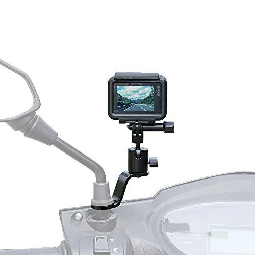 Aluminum Motorcycle Rearview Mirror Mount Holder Motorcycle Fixed Holder Mount for Gopro Hero 9/8/7/6/5 Black,YI,AKASO,SJCAM,DJI Osmo Action Cameras - Perfect Motorcycle Sports Camera Holder Bracket