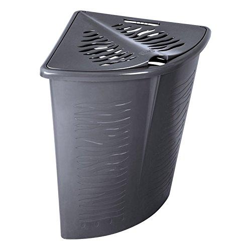 BranQ Eck-Wäschekorb Zebra Zebraoptik Wäschebox Wäschebehälter 45 L (Grau)