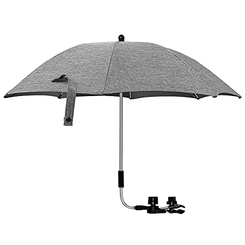 Ombrellino Parasole Universale per Passeggino, parasole passeggino, Diametro 75cm, Ombrello parasole e da pioggia universale per carrozzina con morsetto di fissaggio regolabile (Lino grigio)