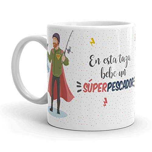 Kembilove Tazas de Café de Pescador Superhéroe – En Esta Taza Bebe un Súper Pescador – Tazas de Desayuno para la Oficina – Taza de Café y Té para Trabajadores – Tazas de 350 ml