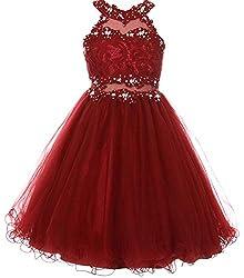 Burgundy Sparkle Rhinestones Halter Lace Junior Bridesmaid Dress