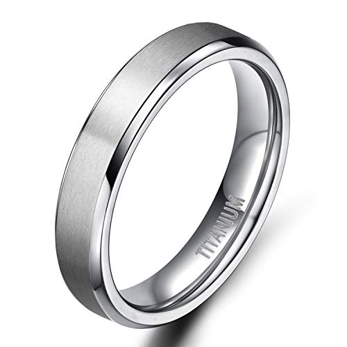 TIGRADE Titanium Rings 4MM 6MM 8MM 10MM Wedding Band in Comfort Fit Matte for Men Women, Silver, 4MM, Size 9