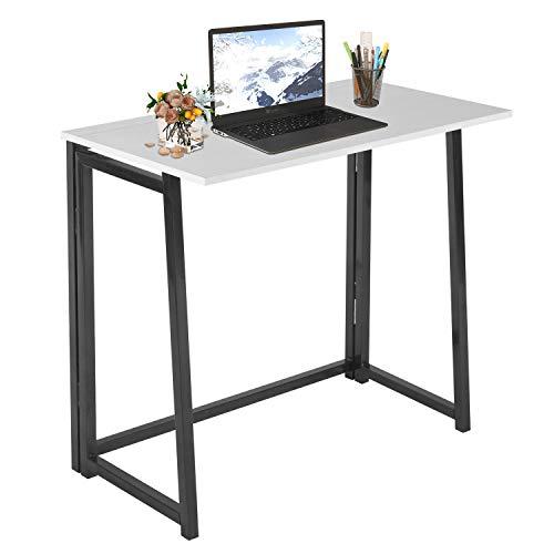 Escritorio pequeño sin ensamblaje para computadora en casa, oficina, mesa plegable, escritorio de estudio, estación de trabajo para oficinas de espacio pequeño (blanco y negro)