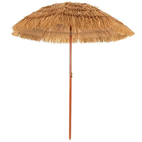 Giantex 6.5 Ft Thatched Patio Umbrella, Hawaiian Tiki Umbrella, Outdoor Table Umbrella with Tilt Function & Portable Design, Straw Top with Sun-Resistant Fabric, Sunshade Beach Umbrellas Ideal for Pool, Garden, Outdoor
